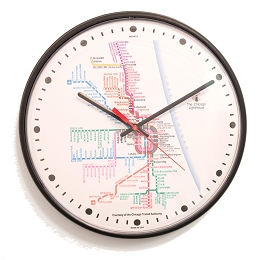 Chicago Lighthouse | Chicago CTA Map 12.75 inch decorative wall clock