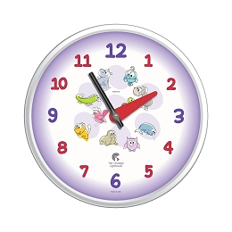 Chicago Lighthouse | Cartoon Animals  12.75 inch children's wall clock | Ultra Violet Scheme