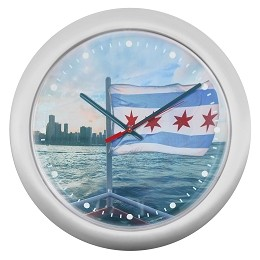 Chicago Lighthouse | Chicago Boat Flag 14 inch decorative wall clock