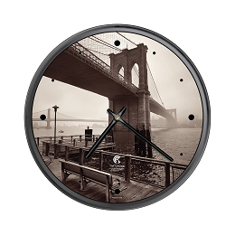 Chicago Lighthouse |- NYC - Brooklyn Bridge   12.75 inch decorative wall clock