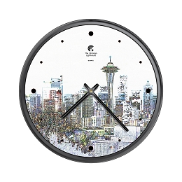 Chicago Lighthouse | Seattle - Skyline  Sketch; 12.75 inch decorative wall clock