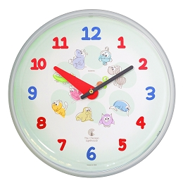 Chicago Lighthouse | Cartoon Animals 12.75 inch children's wall clock | Primary Colors