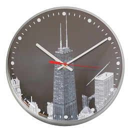 Chicago Lighthouse | Chicago - Hancock Black and White 12.75 inch decorative wall clock