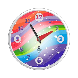 Chicago Lighthouse | Stars 12.75 inch children's wall clock | Ultra Violet Color Scheme