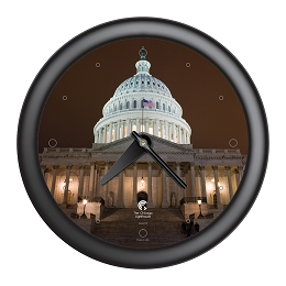 Chicago Lighthouse | Washington DC - US Capital Building  14 inch decorative wall clock | Designer Black Frame