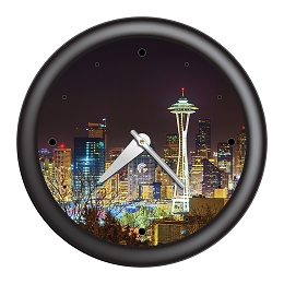 Chicago Lighthouse | Seattle - Skyline   14 inch decorative wall clock | Designer Black Frame