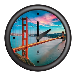 Chicago Lighthouse | San Francisco - Golden Gate Bridge  14 inch decorative wall clock | Designer Black Frame