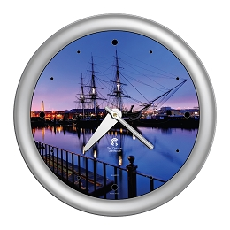 Chicago Lighthouse | Boston - USS Constitution  14 inch decorative wall clock