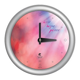Chicago Lighthouse | Peace  14 inch decorative wall clock | Color: Coral Sunlight