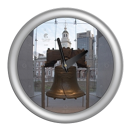 Chicago Lighthouse | Philadelphia - Liberty Bell  14 inch decorative wall clock | Designer Silver Frame