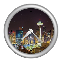 Chicago Lighthouse | Seattle - Skyline   14 inch decorative wall clock | Designer Silver Frame