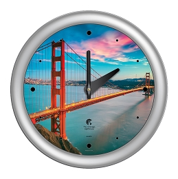 Chicago Lighthouse | San Francisco - Golden Gate Bridge  14 inch decorative wall clock | Designer Silver Frame
