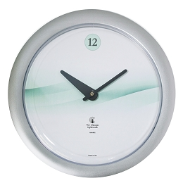 Chicago Lighthouse | Waves 14 inch decorative wall clock | Splash of Teal; Designer Silver Fream