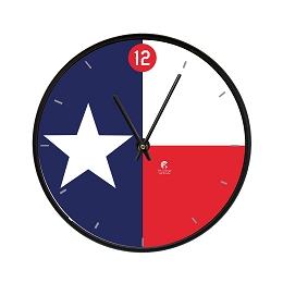 Texas - Flag1 | 12.75 inch Quartz Movement Decorative Wall Clock; Black Slimline Body