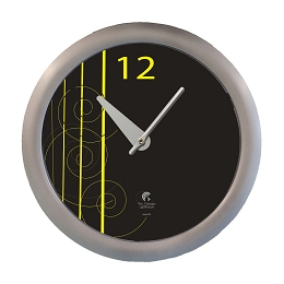 Black and Yellow a David Williams original design | 14 inch Quartz Movement Decorative Wall Clock; Silver Designer Body