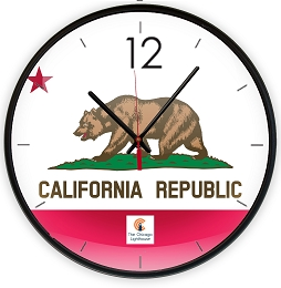 California - Flag  | 12.75 inch Quartz Movement Decorative Wall Clock; Black Slimline Body