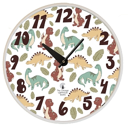 Dinosaur | 12.75 inch Quartz Movement Childrens Wall Clock; White Slimline Body