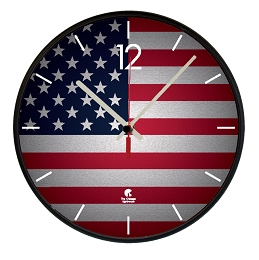 Chicago Lighthouse | US FLAG  12.75 inch decorative wall clock - Black Slimline Body