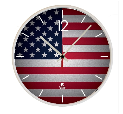 Chicago Lighthouse | US FLAG  12.75 inch decorative wall clock - White Slimline Body
