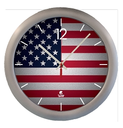 Chicago Lighthouse | US FLAG  14 inch decorative wall clock - Silver Designer Body