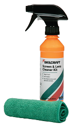 SKILCRAFT Screen and Lens Cleaning Kit - 12 oz spray bottle with microfiber cloth