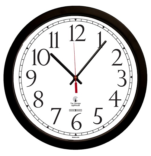"SelfSet Movement Commercial/Residential Wall Clock | 16.5"" Black Contemporary, Track Dial"
