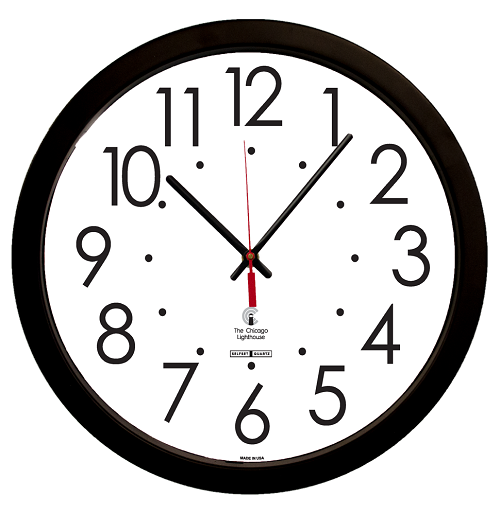 "SelfSet Movement Commercial/Residential Wall Clock | 16.5"" Black Contemporary Body"