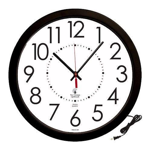 "Corded Electric Movement Commercial/Residential Wall Clock | 14.5"" Black Contemporary"