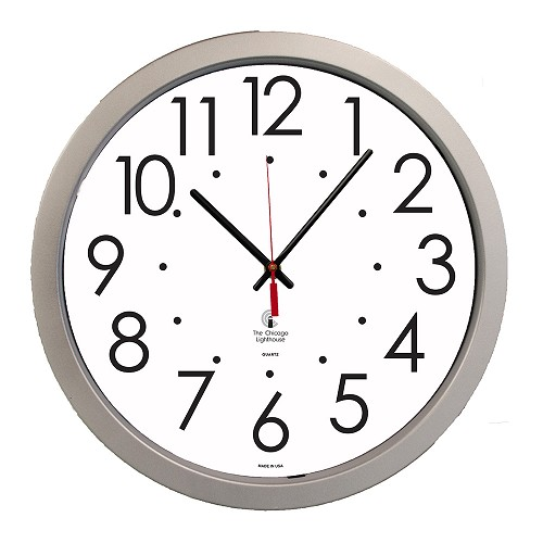 "14.5"" Silver Contemporary Commercial/Residential Quartz Movement Wall Clock"