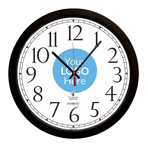"SelfSet Movement  Commercial/Residential Wall Clock | 14.5"" Black  Contemporary, Track Dial"