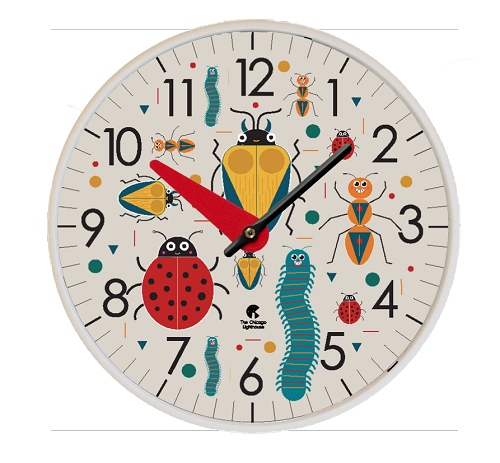Bugs | 12.75 inch Quartz Movement Childrens Wall Clock; White Slimline Body