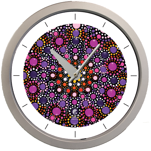 "Artist Series  Amy Diener - Mesmorize 14.5"" Silver  Contemporary Body Quartz Movement Decorative Wall Clock"