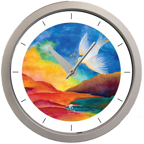 "Artist Series  Jackie Olenick - Shalom – Landscape 14.5"" Silver  Contemporary Body Quartz Movement Decorative Wall Clock"
