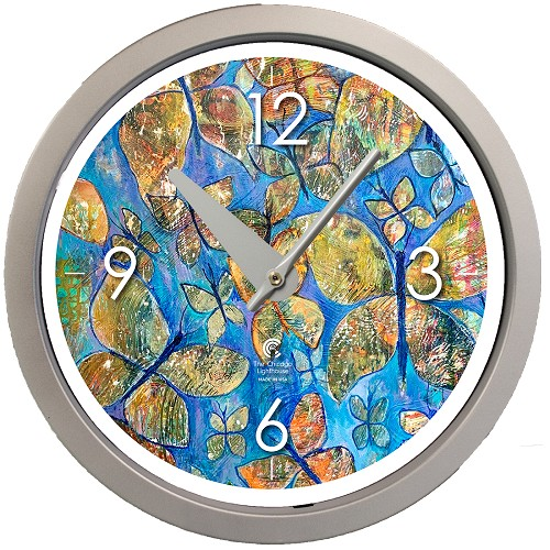 "Artist Series  Diane Rakocy - Abundance of Love   14.5"" Silver  Contemporary Body Quartz Movement Decorative Wall Clock"