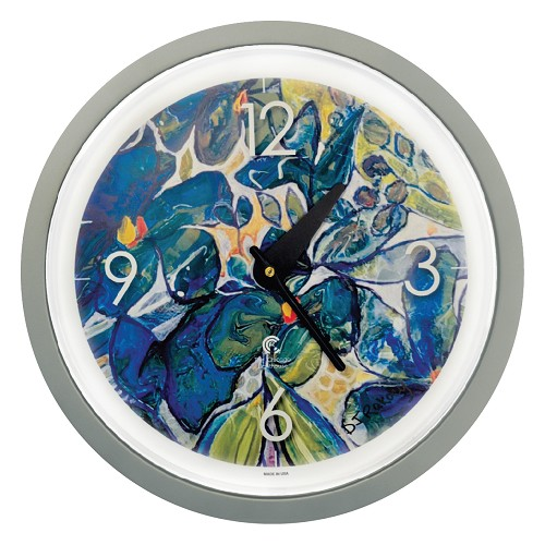 "LIMITED EDITION: Artist Series  Diane Rakocy 14.5"" Silver  Contemporary Body Quartz Movement Decorative Wall Clock"