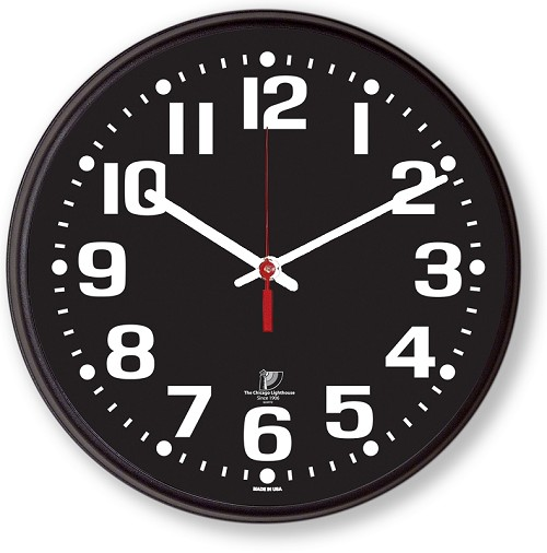 "12 3/4"" High Contrast Black Dial Wall Clock in a Black Slimline Body"