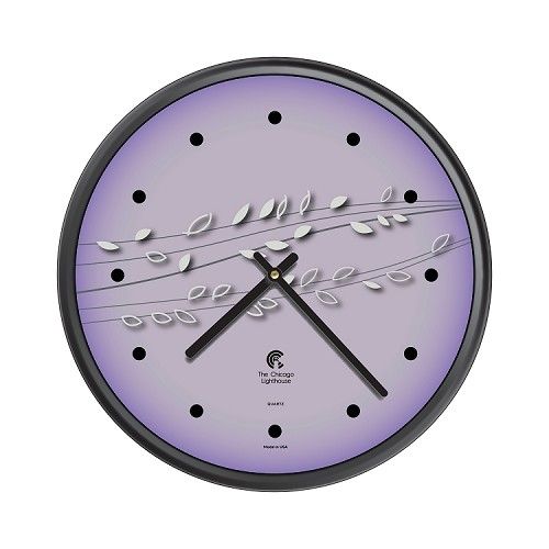 Chicago Lighthouse | Basil & Berries 12.75 inch decorative wall clock | Color: Ultra Violet