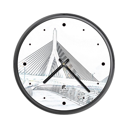 Chicago Lighthouse | Boston - Bunker Hill Bridge  Sketch; 12.75 inch decorative wall clock