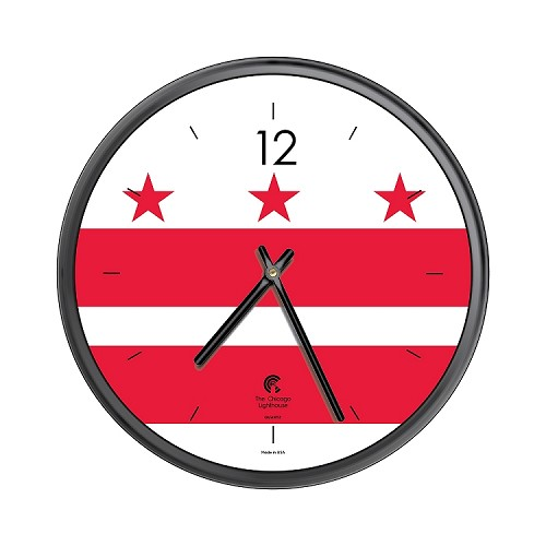 Chicago Lighthouse | City Flag - Washington DC  12.75 inch decorative wall clock