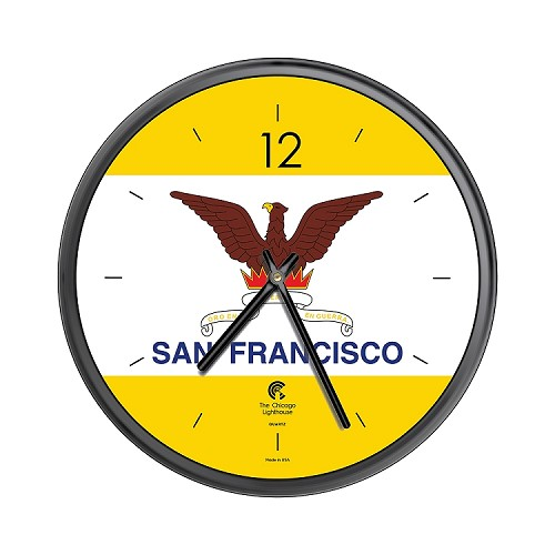 Chicago Lighthouse | City Flag - San Francisco  12.75 inch decorative wall clock