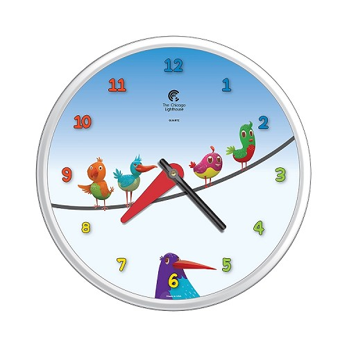 Chicago Lighthouse | Birds on a Wire  12.75 inch children's wall clock