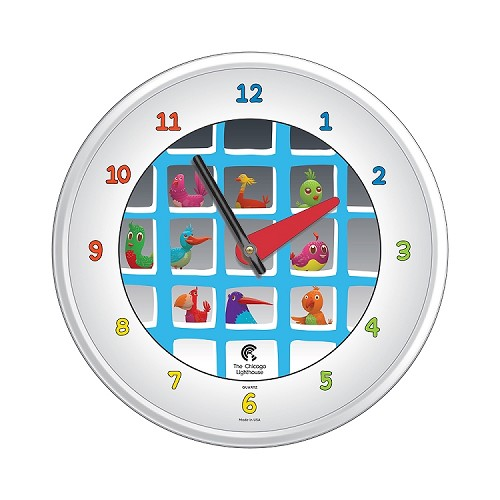 Chicago Lighthouse | Cartoon Bird House  12.75 inch children's wall clock