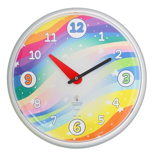 Chicago Lighthouse | Stars 12.75 inch children's wall clock | Primary Color Scheme