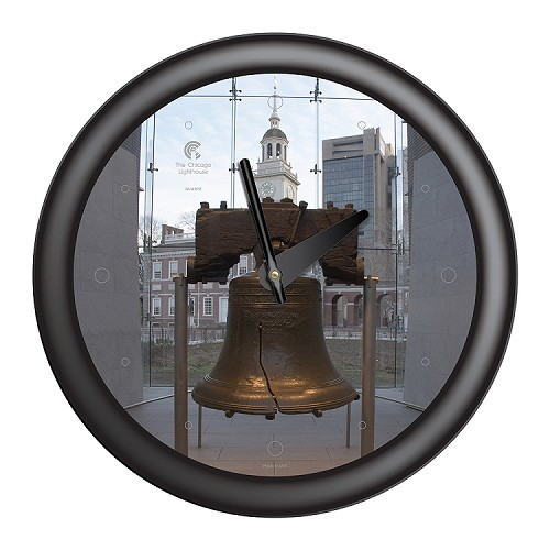 Chicago Lighthouse | Philadelphia - Liberty Bell  14 inch decorative wall clock | Designer Black Frame