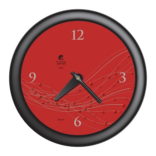 Chicago Lighthouse | Vines & Dots 14 inch decorative wall clock | Caliente Dial; Black Accent