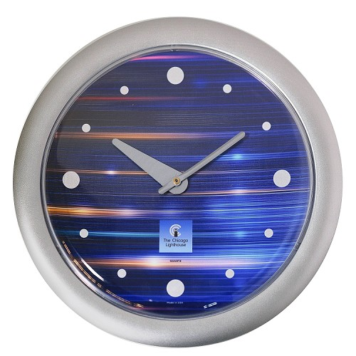 Chicago Lighthouse | Cobalt Metallic  14 inch decorative wall clock | Modern Dial