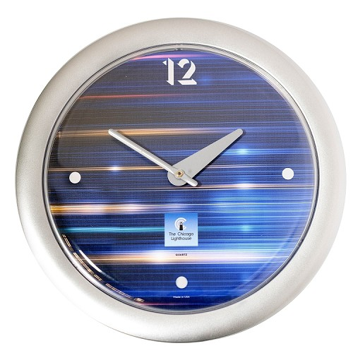 Chicago Lighthouse | Cobalt Metallic 14 inch decorative wall clock | Contemperary Dial