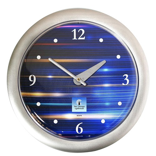 Chicago Lighthouse | Cobalt Metallic   14 inch decorative wall clock | 3-6-9-12 Markers