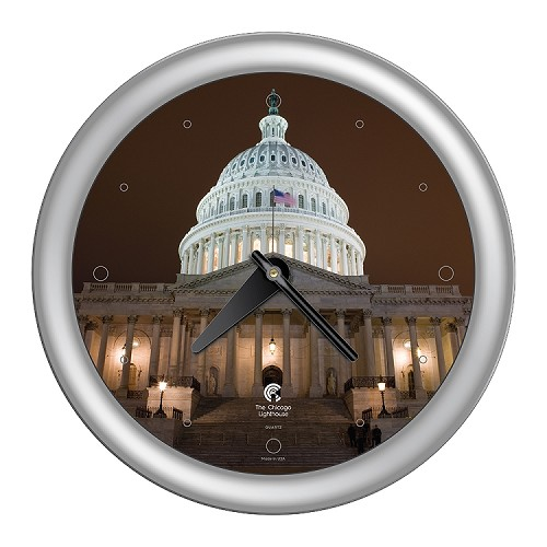 Chicago Lighthouse | Washington DC - US Capital Building  14 inch decorative wall clock |Designer Silver Frame