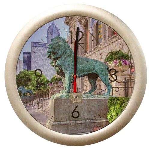 Chicago Lighthouse | Chicago Monumental - Lion 14 inch decorative wall clock